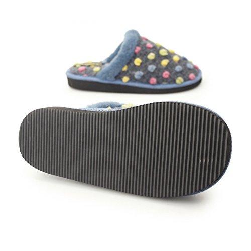Sleepers Amy Damen Hausschuhe / Pantoffeln mit Punktemuster Blau