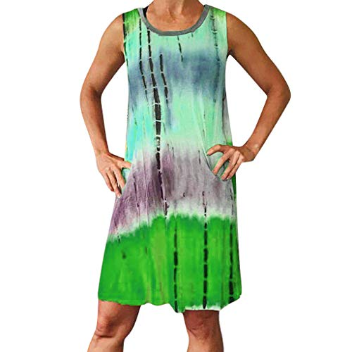 Tantisy ♣↭♣ Women's Sleeveless T Shirt Dress Tie-dye Floral Print Cold Shoulder Tank Mini Dress Casual Swing Tee Shirt Dress Green ()