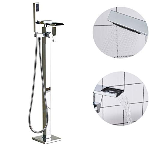 Saeuwtowy Chrome Bathtub Faucet Single Handle Waterfall Spout Bathroom Bathtub Faucet Floor Mount Bathtub Faucet and Shower Set+ Handheld Shower