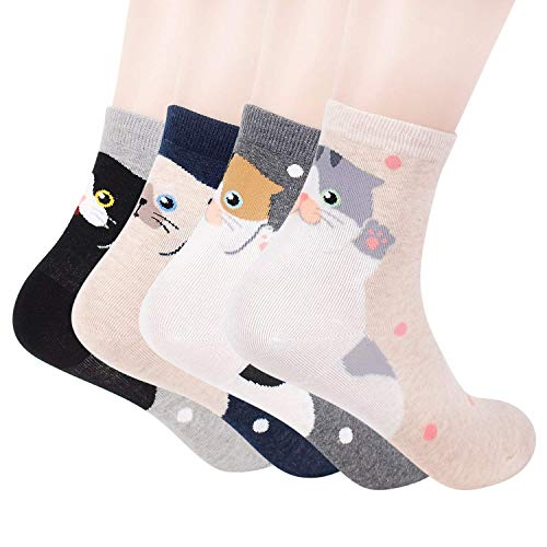 Girlfriend Cats - Womens Casual Socks - Cute Crazy Lovely Animal Cats Dogs Pattern Good for Gift One Size Fits All (4 Cats Back)