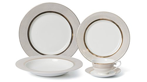 Euro Porcelain (EURO Porcelain 20-pc. Dinner Set Service for 4, 24K Gold-plated Luxury Bone China Tableware (