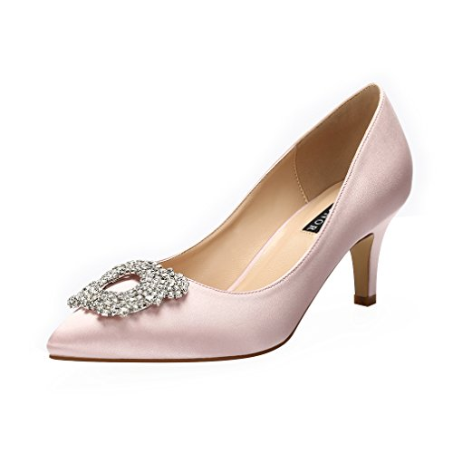 ERIJUNOR E1604 Women Pumps Low Heel Rhinestone Brooch Satin Evening Dress Wedding Shoes Blush Size 8