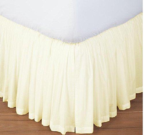 分割コーナー用フリル付きベッドスカートアイボリーソリッド600スレッドカウントのエジプト綿100 %クイーン( 60