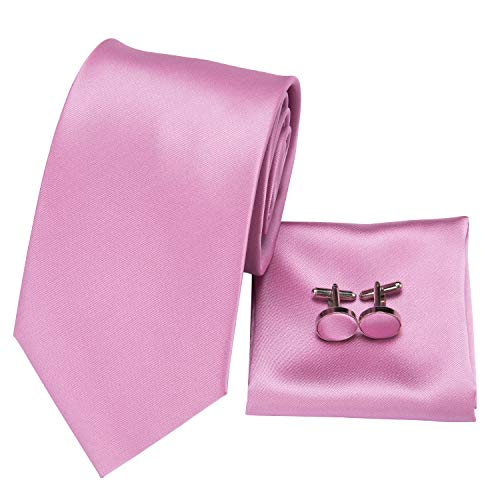 (Hi-Tie Pink Tie Woven Silk Tie Pocket Square and Cufflinks Gift Box Set Mens Wedding Tie (Pink pure solid))