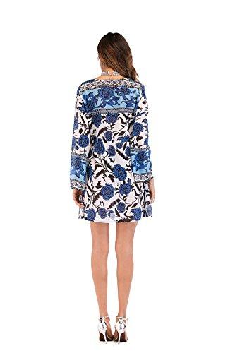 Mare Fiore Unico Kimono Sottile Estate Sciolto Elegante Moda Stampa Vintage Lungo Copricostume Blu Lunga Bohemian Donna Chiffon Vacanza Cardigan Pareo Mare Manica Casual Xrrtwz