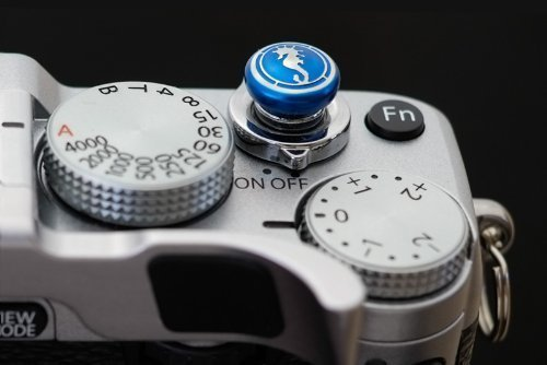 Lensmate Seahorse Soft Release Button - Blue - fits Any Standard Threaded Release - Fujifilm X-T3, X-E3, X-E2s, X-E2, X-T2, X-Pro2, X-T20 & X-T10, X100F & X100T & X100s by Lensmate