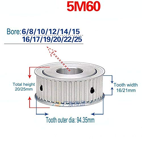 5M Tooth Width 21mm Timing Pulley Without Step Synchronous Wheel for 15/20mm Width Belt, AF Type, Arc Teeth, 12T-60T from Gump's grocery