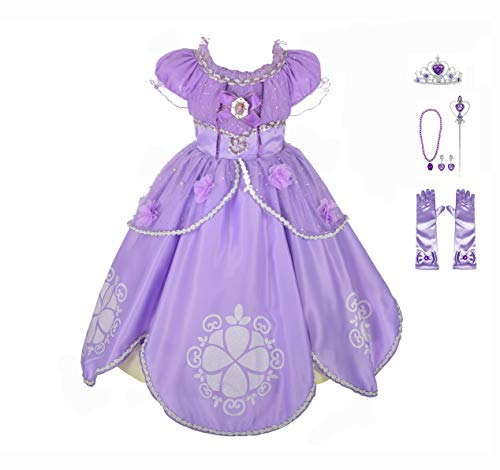 Lito Angels Girls' Princess Sofia The First Dress Up Costume Cosplay Fancy Party Dress Outfit with Accessories Size 6 B