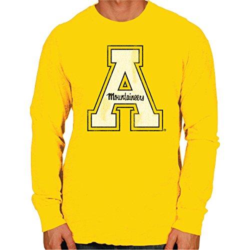 Original Retro Brand NCAA Appalachian State Mountaineers Men's Long Sleeve Tee, Large, Gold