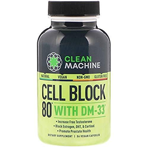 Clean Machine Cell Block 80 Supplement, Natural Testosterone Booster, Estrogen Blocker, DHT Blocker, Cortisol Blocker, Non-GMNO - 56 Vegan Capsules