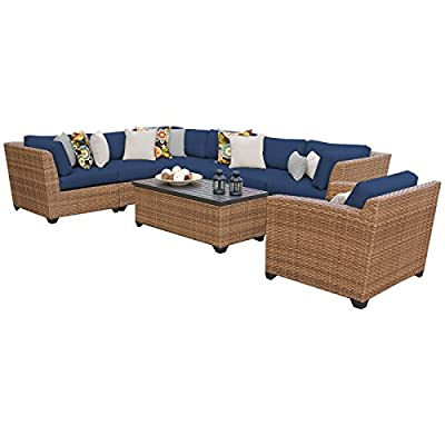 "TK Classics LAGUNA-08d-NAVY Laguna 8 Piece Outdoor Wicker Patio Furniture Set, Navy - FULLY ASSEMBLED - Seating area is ready to use and enjoy with family and friends Imported from China 35"" x 30"" x 35"" - patio-furniture, patio, conversation-sets - 41Sg82QYSpL. SS400  -"