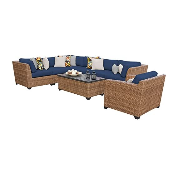 """TK Classics LAGUNA-08d-NAVY Laguna 8 Piece Outdoor Wicker Patio Furniture Set, Navy - FULLY ASSEMBLED - Seating area is ready to use and enjoy with family and friends Imported from China 35"""" x 30"""" x 35"""" - patio-furniture, patio, conversation-sets - 41Sg82QYSpL. SS570  -"""
