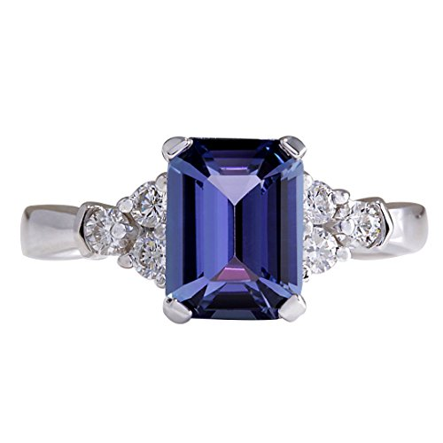 (2.4 Carat Natural Blue Tanzanite and Diamond (F-G Color, VS1-VS2 Clarity) 14K White Gold Solitaire Engagement Ring for Women Exclusively Handcrafted in USA)