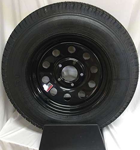 New Old Stock 14 Inch Black Modular Trailer Wheel with Radial St205 75 R14 Tire Mounted 5 on 4.5 Bolt Circle