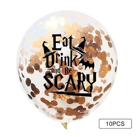 Dragon Toy - 10pcs 12 Inches Halloween Skulls Rose Gold Confetti Balloons Witch Ghosts Inflatable Latex Party - Balloons Ballons Accessories Ballons Accessories Skull Finger Ring Halloween Ba -