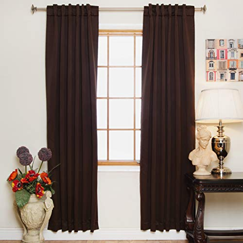 Radiant Rod Pocket - Blackout Curtain Chocolate Rod Pocket Energy Saving Thermal Insulated 96 Inch Length Pair