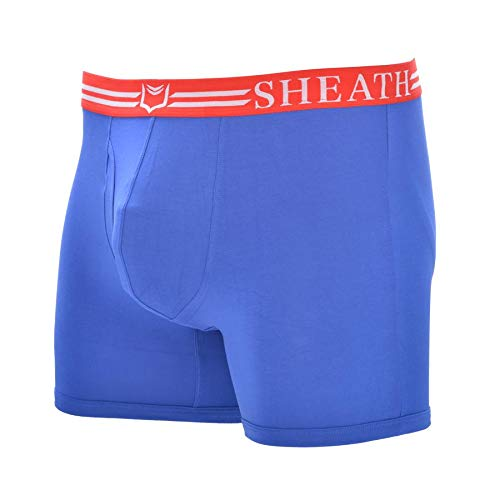 Sheath Men's Underwear with Dual Pouch 4.0 Boxer Briefs (Blue/Red, XXXL)