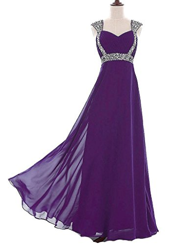 Vantexi Women's Beaded Straps Chiffon Long Prom Bridesmaid Dress Purple 30