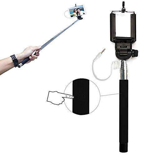 Xtra-Funky Exclusive Universal Push Button Operated Monopod Selfie Stick with Adjustable Clamp and Extendable Pole for Samsung, iPhone, Sony, Nokia & many more! - Black