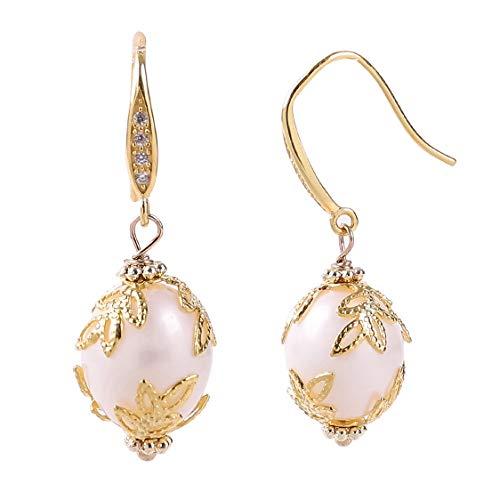 Natural Pearl Earrings For Women Wife Girls Gifts White Freshwater Cultured Baroque Big Pearl Earrings Dangle Handmade Jewelry 10-12mm