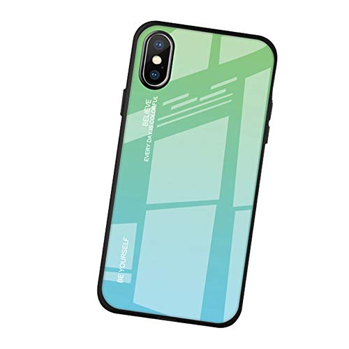 AIsoar Compatible with iPhone 5/5s/SE Colored Gradient Tempered Glass Case,Tempered Glass Back Cover + Soft TPU Bumper Frame Shockproof Anti-Scratch Protective Cover Shell (Green+ Blue)