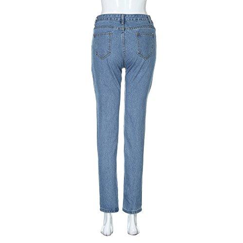 Bleu Slim Chic Femme Taille Trou SANFASHION Moyen Mode Loose Pantalon Jeans Denim Casual azwg8q7