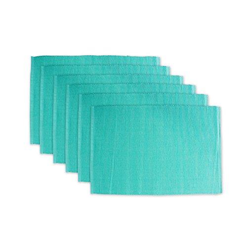 DII 100% Cotton, Ribbed 13x 19 Everyday Basic Placemat Set of 6, Aqua Mint, 6 Piece