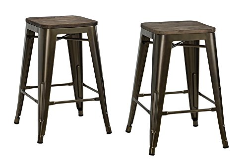 DHP Fusion Metal Backless Counter Stool with Wood Seat, Set of two, 24