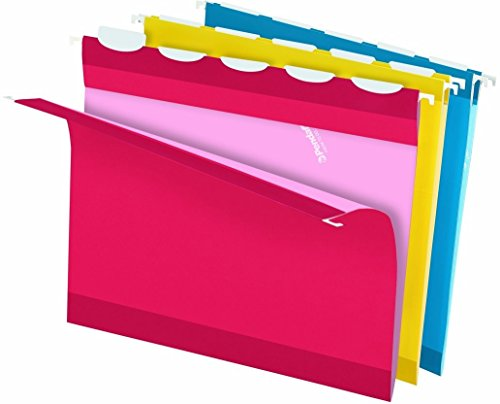 Pendaflex Ready-Tab Reinforced Hanging Folders with Lift Tab Technology, Letter Size, 5-Tab, Assorted Colors, 25 Total Folders per Box (PFX42592)
