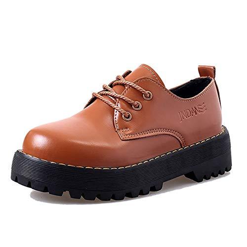 Casual Shoes Ocio Marrón Lace Mujeres Vestir Toe Cuero Oxford Trabajo De  Suave Las Aire Libre Plataforma Zapatos Derby ... 607fe54ebcede