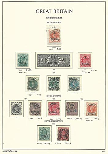 Great Britain Stamp Collection on Lighthouse Page 1896-02 Officials SCV $1810