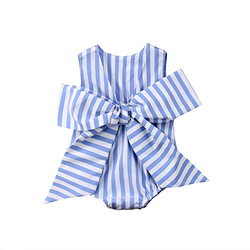 Newborn Baby Girl Striped Bubble Romper Jumpsuit Outfits Infant Ruffle Sleeveless Bodysuit Summer Clothes (Blue Striped Bowknot Romper, 0-6 Months)