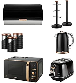 Tower Kitchen Rose Gold Black Appliance Retro Stylish Set
