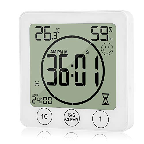 JLENOVEG Digital Bathroom Shower Timer Kitchen Wall Clock with Alarm Waterproof Touch Screen Timer Indoor Thermometer Hygrometer with Suction Cup Hanging Hall Shelf Stand