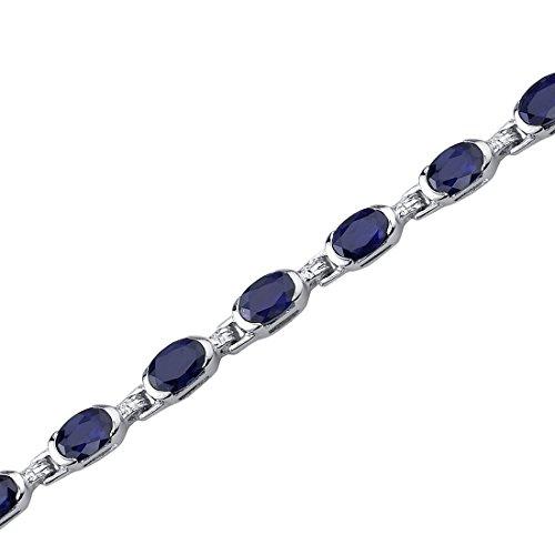 - 8.00 Carats Created Sapphire Bracelet Sterling Silver Oval Shape
