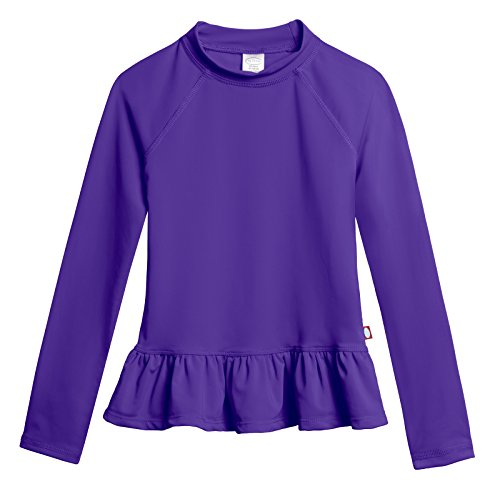 City Threads Big Girls' Solid Rashguard Swimming Tee For The Beach or Pool Peplum Sun Protection SPF50+ Swim Tee For The Beach or Pool, Purple, 7