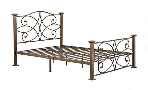 (Hodedah Complete Metal Full-Size Bed with Headboard, Footboard, Slats and Rails in Gold)