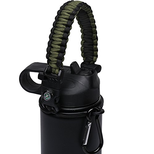MORLA Handle for Hydro Flask,Paracord Survival Strap with Security Ring for Simple Modern and Other Wide Mouth Water Bottles. (Army/Black)