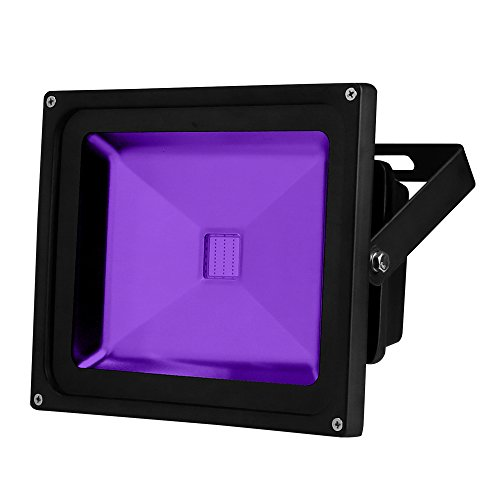 YQL Outdoor UV Black Light, 30W Ultra Violet LED Flood Light, Blacklights for DJ Disco Night Clubs, UV Light Glow Bar, Blacklight Dance Party, Stage Lighting, Glow in The Dark Party Supplies,Curing -