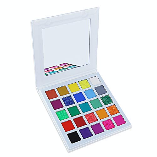 Matte and Glitter Eyeshadow Palette, 7 Pressed Glitters,18 Matte Shades Highly Pigmented Makeup Palette Bright Colors Beauty Cosmetics Waterproof Long-Lasting Eye Shadow Powder (colorful)