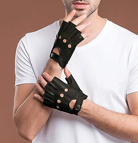 Guantes sin Dedo para Hombre Invierno de Cuero de Oveja de Real Piel de Medio Dedo de Conducci/ón Moto Ciclismo Regalo