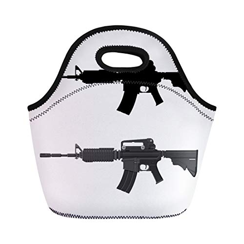 Semtomn Neoprene Lunch Tote Bag Ar15 of Assault Rifle Automatic Fire Silhouette Gun M16 Reusable Cooler Bags Insulated Thermal Picnic Handbag for Travel,School,Outdoors,Work