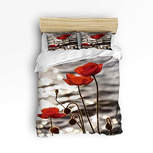 - 3 Piece Polyester Fabric Bedding Set with Zipper Closure King Size, Water Surface Poppy Flower Seed Comforter Cover Set Duvet Cover with 2 Pillow Shams for Girls/Boys/Kids/Children/Teen/Adults