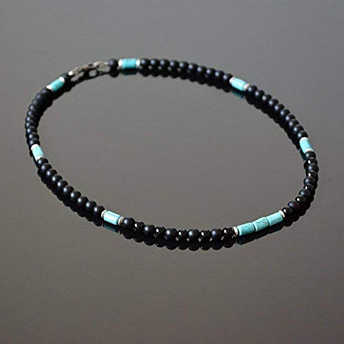 Unique Beaded Jewelry - Native American Inspired Surfer Handmade Beaded Choker Mens Necklace Black Onyx and Howlite Natural Stone Choker for Men