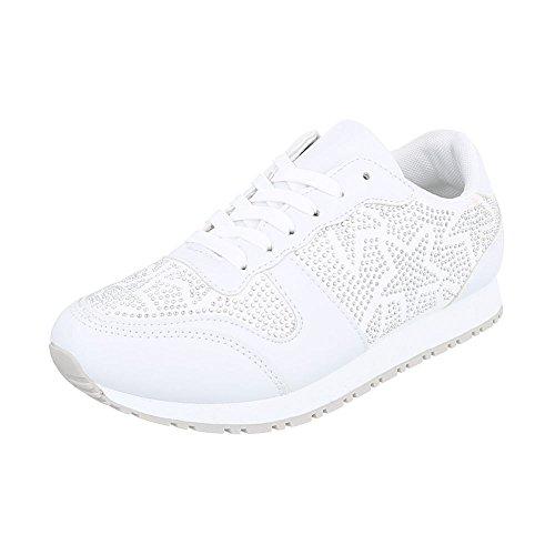 Ital-Design Sneakers Low Damenschuhe Sneakers Low Sneakers Schnürsenkel Freizeitschuhe Weiß FC-S37