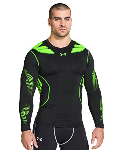Under Armour Gameday Armour Long Sleeve Top - Men's Black / Hyper Green Large - Under Armour Game Day Green
