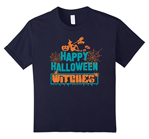 Kids Halloween Costume T-Shirt - Happy Halloween Witches 12 Navy - Mom N Son Halloween Costumes