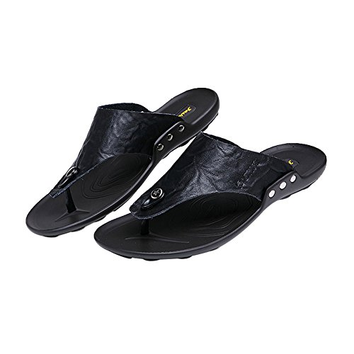 Mens HanWay Flip Beach Summer Real amp;W Slip Leather H Black Flops On rwqIrF