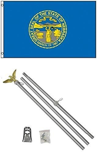 (ALBATROS 3 ft x 5 ft State of Nebraska Flag Aluminum with Pole Kit Set for Home and Parades, Official Party, All Weather Indoors Outdoors)
