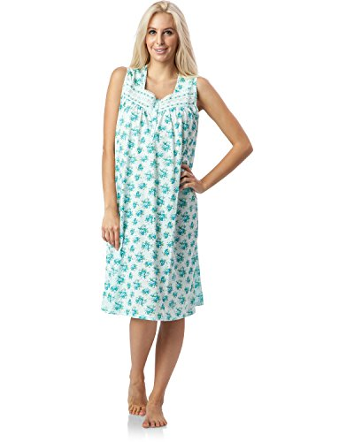 Casual Nights Women's Lace Trim Sleeveless Nightgown - Floral/Green - 3X